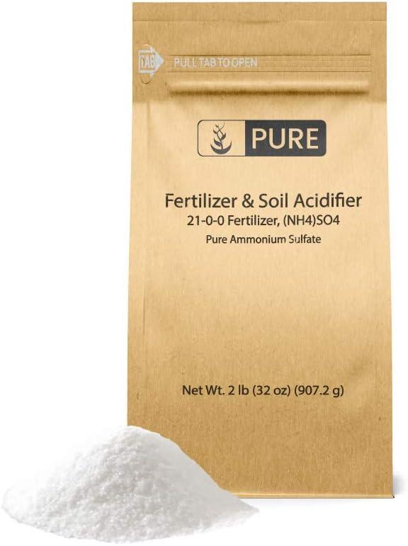 Pure Ammonium Sulfate (2 lb.), Eco-Friendly Packaging, Fertilizer & Soil Acidifier, Highest Quality, NO Iron OR Aluminum (Also in 8 oz, 1 lb, 5 lb, & 25 lb)