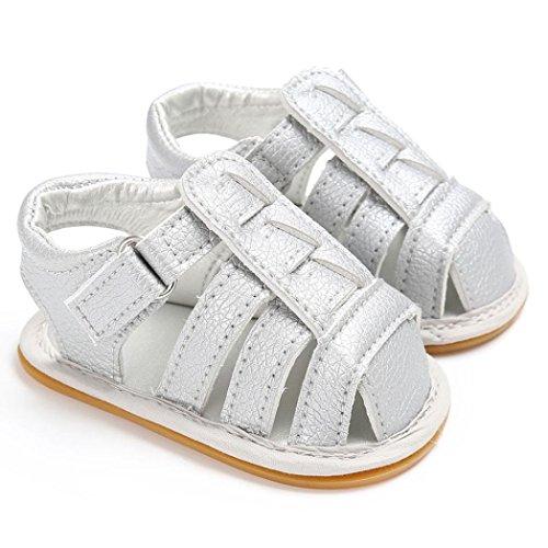 Hunpta Baby weiche Sohle Leder Schuhe neugeborenen Mädchen Kleinkind Kinderbett Prewalker 0-18 M Silber