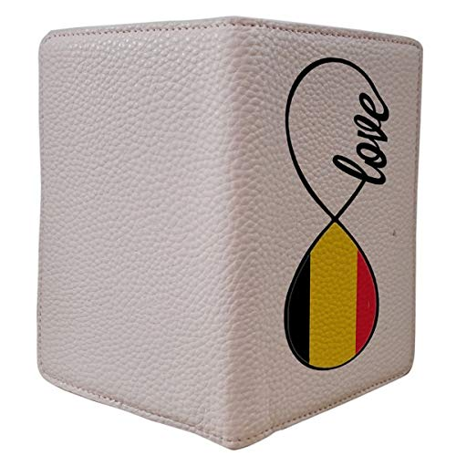 [OxyCase] Designer Light Weight PU Leather Passport Holder Cover/Case - Infinity Love Belgium Flag Design Printed Cute Travel Wallet for Girls/Women