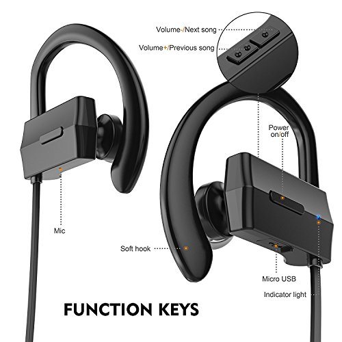 anlo bluetooth headphones wireless in ear earbuds v4 1 stereo noise isolating. Black Bedroom Furniture Sets. Home Design Ideas