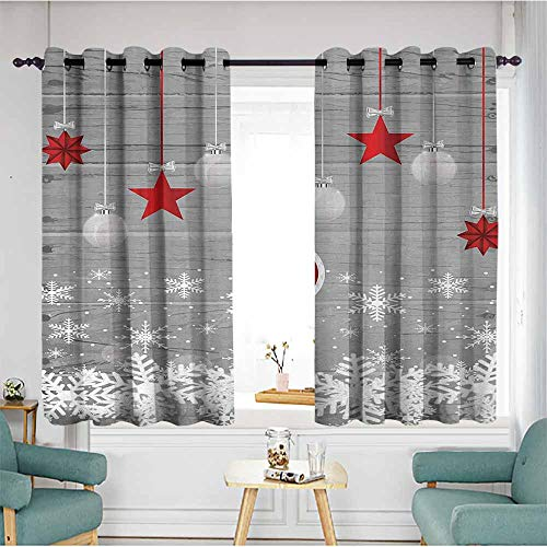 (Beihai1Sun Living Room/Bedroom Window Curtains,Christmas,Traditional Celebration Theme with Pendant Stars Baubles Ornate Snowflakes,Grey Red White,Insulated with Grommet Curtains for Bedroom,W55x72L )