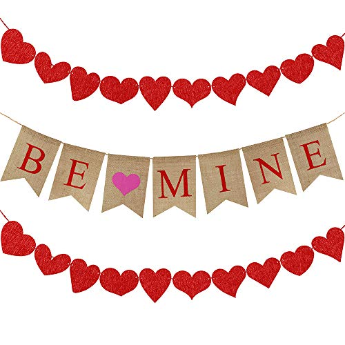 Supla 6.6' Long BE Mine Letters and Hearts Sign Valentine's Day Burlap Banner Rustic Jute Burlap Flag Bunting Banner and 20 Pcs 10 Shape Red Felt Hearts Garland Banner with Red Paper Raffia Cord -