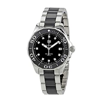 2791e695698 Amazon.com  Tag Heuer Aquaracer Black Dial Diamond Ladies Watch ...