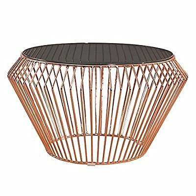"""Abbyson Living Emma Stainless Steel Coffee Table in Rose Gold - Wipe clean No assembly required Measures 28"""" diameter x 15"""" H - living-room-furniture, living-room, coffee-tables - 51NMPXhMhJL. SS400  -"""