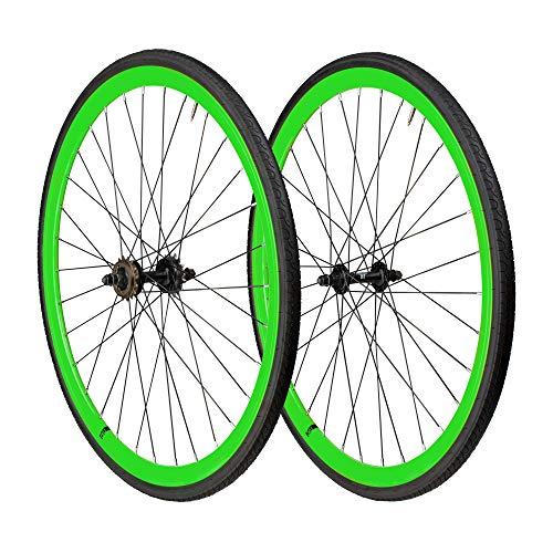6KU 700C Deep V Alloy Fixie Wheelset, Neon Green