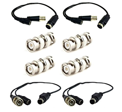 2 Pair Male/Female LOREX CABLE RCA to 4-Pin DIN Connector w/ 4 BNC Connectors