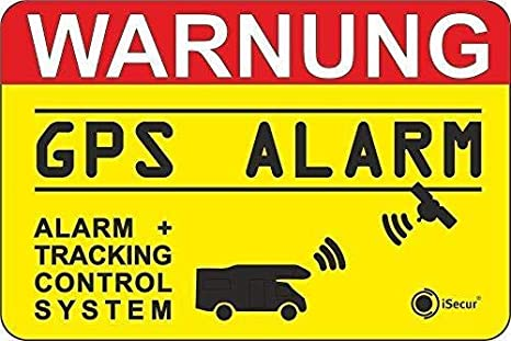Isecur 2er Set Hinweis Aufkleber Gps Alarm Tracking System I 6 X 4 Cm Innenklebend I Achtung Warnung Gps Alarm Gesichert Wohnmobil Wohnwagen I Hin438