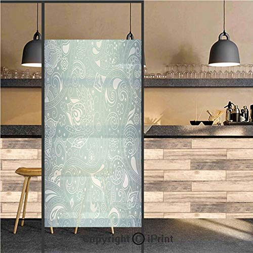 3D Decorative Privacy Window Films,Vintage Abstract Retro Design with Indian Ethnic Floral Leaf Details Print,No-Glue Self Static Cling Glass Film for Home Bedroom Bathroom Kitchen Office 24x36 Inch