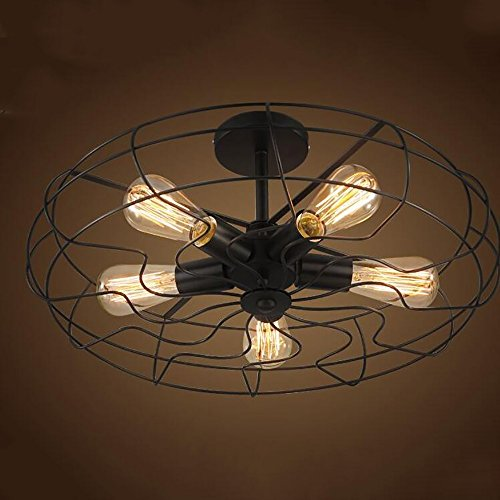 TOYM US American Village Industrial Wind Black Paint Iron Ceiling Mounts Creative Creative Retro Fan Aisle Ceiling Lamps (Color : ()