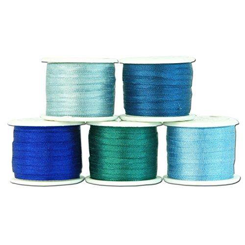 2mm Silk Ribbon Set - Five 10 meter spools - 55 yds - Blue Shades - Threadart - 4 Sizes - 50 Colors