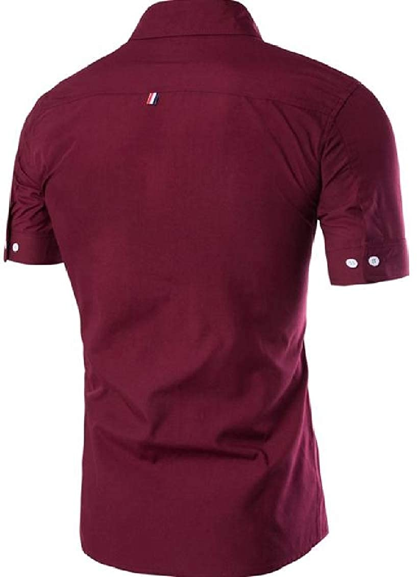 Sayhi Men Summer Casual Contrast Color Short Sleeve Button Front Shirts