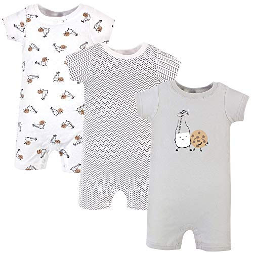 Hudson Baby Unisex Cotton Rompers, Milk