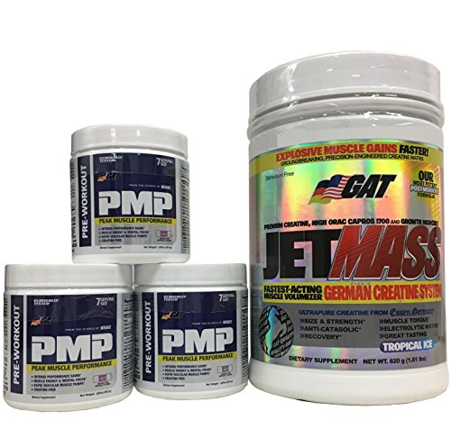 GAT Jetmass Fast-Acting Creatine Muscle Gainer, Tropical Ice, 1.81lbs with Pre Workout Powder, 3 bottles of PMP Berry Blast 7 servings Combo