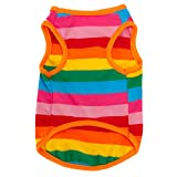 Image of BUYITNOW Rainbow Stripe Pet Vest Breathable Summer Cotton Sleeveless T-Shirt Small Dog Cat Clothes