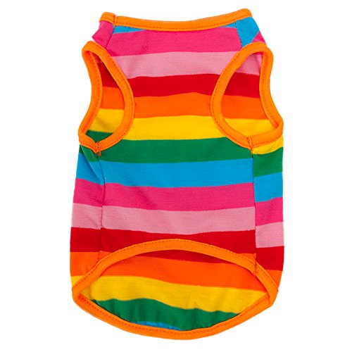 BUYITNOW Rainbow Stripe Pet Vest Breathable Summer Cotton Sleeveless T-Shirt Small Dog Cat Clothes (XS)