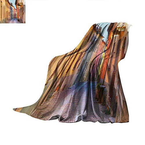 Italy Weave Pattern Blanket Narrow Paves Street Among Old Houses in Town Serralunga DAlba Piedmont Summer Quilt Comforter 50