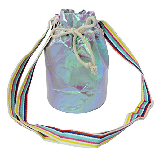Holographic Colorful Pouch body Bucket Cross Silver Cellphone Drawstring Monique Satchel Bag Mini Women Bag qgxE5wU