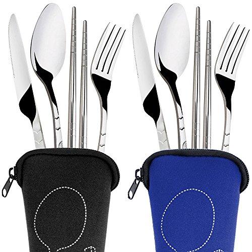 SENHAI 2 Pack Rustproof Stainless Steel Tableware Dinnerware with Carrying Case