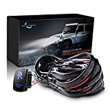 MICTUNING LED Light Bar Wiring Harness Fuse 40Amp Relay ON-OFF SASQIATCH Rocker Switch Blue(2 Lead )