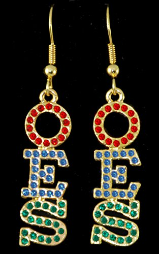 Order of the Eastern Star (OES) Gold Crystal Earrings