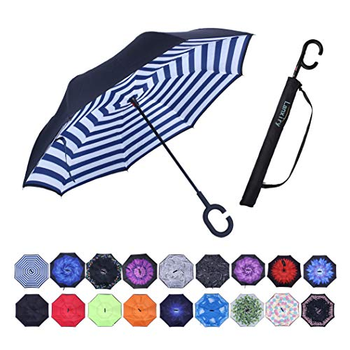 Umbrella,Windproof Waterproof Golf Umbrella,Double Layer Folding Inverted Anti-UV Protection Umbrellas,Reverse Sun Umbrella With C-Shaped Handle,Upside Down Umbrella for Car Rain Outdoor (blue strip)