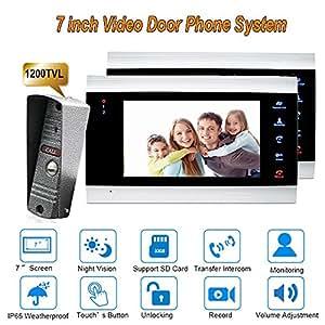 New 7 inch 1200TVL Duplex Way Video Door Phone Intercom system With TFT Screen Door Bell System 1 camera 2 monitors