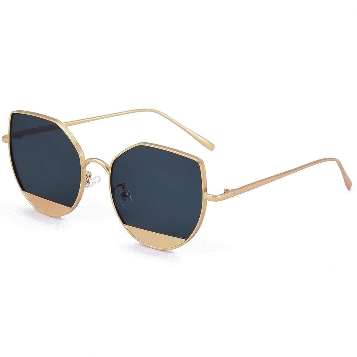 WISH CLUB Cat Eye Sunglasses Coating Mirrored Flat Lenses Fashion Metal Frame Women UV 400(Black)