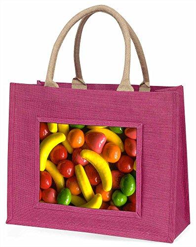 Fruchtbonbons Große rosa Jute Einkaufstasche Weihnachtsgeschenk