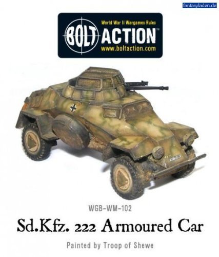Bolt Action Sd.Kfz 222 WWII German Light Armoured Car by Warlord - Armoured Light