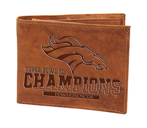 NFL Denver Broncos super Bowl 50 Champions Embossed Genuine Leather Billfold Wallet,4-Inches by 3.5-Inches,Brown