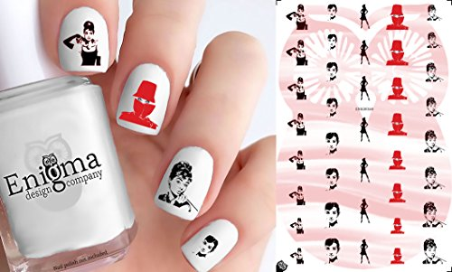 Audrey Hepburn Accessories (Clear Water-Slide Nail Decals)