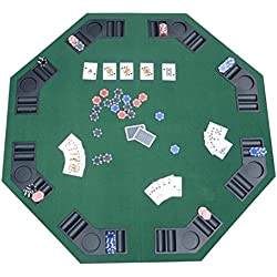 HOMCOM Deluxe Foldable Poker/Blackjack Card Game Table Top w/Carrying Bag