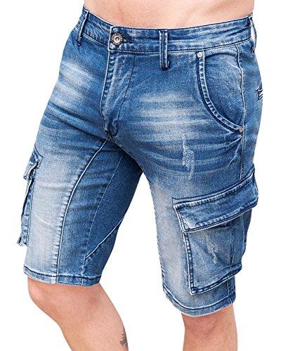 Jeans Blu Denim Laterali Con Uomo Tasconi Evoga Cargo Casual Pantaloni Corti F4pcwOq