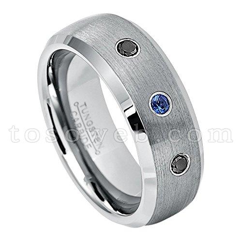 Men's 0.21ctw Blue Sapphire & Black Diamond 3-Stone Wedding Band, Tungsten Carbide Comfort Fit Anniversary Ring, 8mm Semi-Dome Brushed Center High Polish Beveled Edge Tungsten Carbide Ring-s6.5