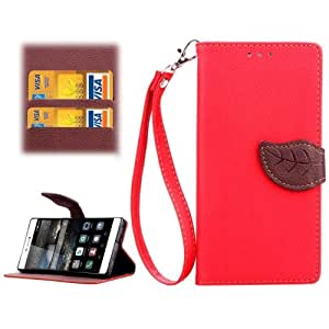 Leaf Magnetic Snap lichis Texture Funda Horizontal con tapa piel Case Cover con Slots & Wallet Card Holder & & Lanyard (Red) para Huawei P7