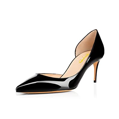 3ee144fafcaf5 XYD Sexy Mid Heel D'Orsay Shoes Pointed Toe Slip on Patent Suede Kitten  Pumps