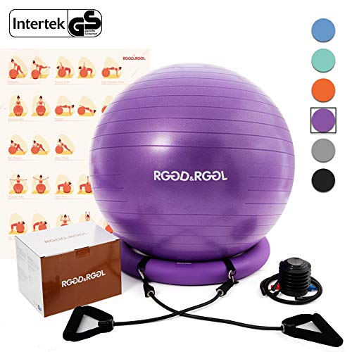 - RGGD&RGGL Yoga Ball Chair, Exercise Balance Ball Chair 65cm with Inflatable Stability Ring, 2 Resistant Bands and Pump for Core Strength and Endurance