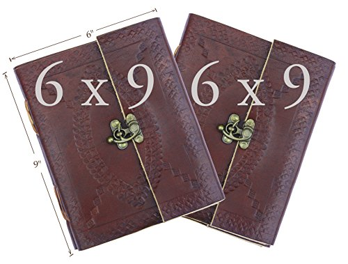Artists Special – TWO PACK Handmade Brown Embossed Leather Journal, Recipe Book, Travel Diary, Notepad, Unlined Paper Sketchbook Tattoo Art Pirate Not…