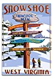 Snowshoe, West Virginia - Destinations Sign (12x18 Aluminum Wall Sign, Wall Decor Ready to Hang)