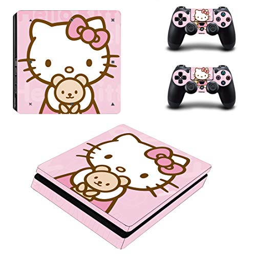 Adventure Games - PS4 SLIM - Hello Kitty - Playstation 4 Vinyl Console Skin Decal Sticker + 2 Controller Skins Set
