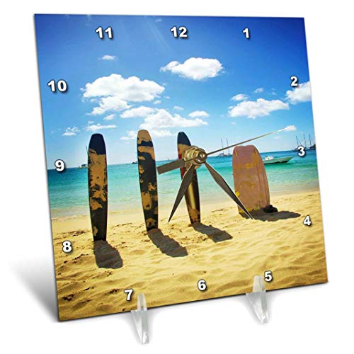- 3dRose 3D Rose Surfboards in The Sand - Desk Clock, 6 by 6-inch (dc_53307_1)