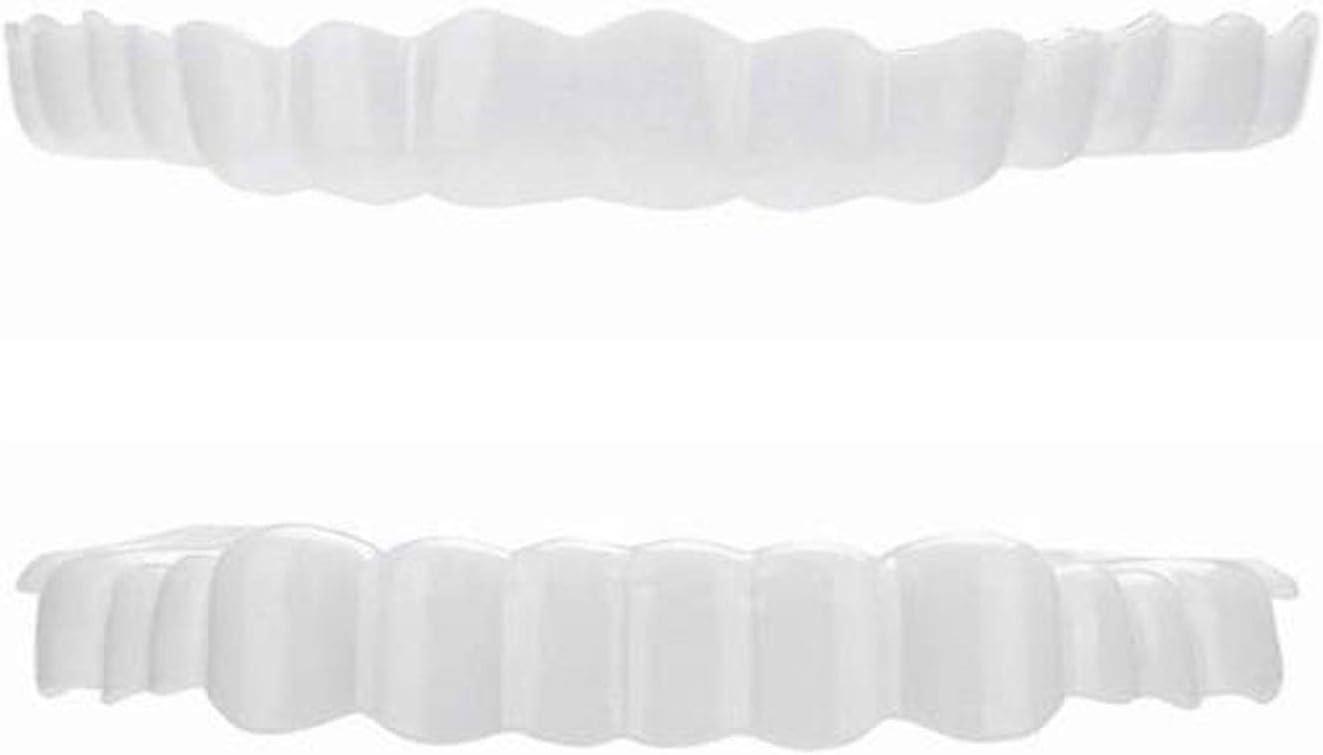 SXJC 2 Arriba Y Abajo Dentaduras Blanqueamiento Dental Sonrisa Instantánea Arriba Y Abajo Complemento Fundas Dientes Reutilizable