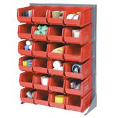 Louvered Rack - Louvered Bin Rack With (96) Red Stacking Bins, 35