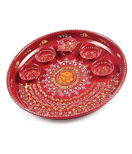 Ganesha POOJA THALI Handicraft hand painted Thali,Priceless gift NOVEL GIFT !FOR Raksha Bandhan, Haldi Kumkum Holder & Ganesh Pooja Thali, for Pooja & all auspicious occasions & daily home pooja items