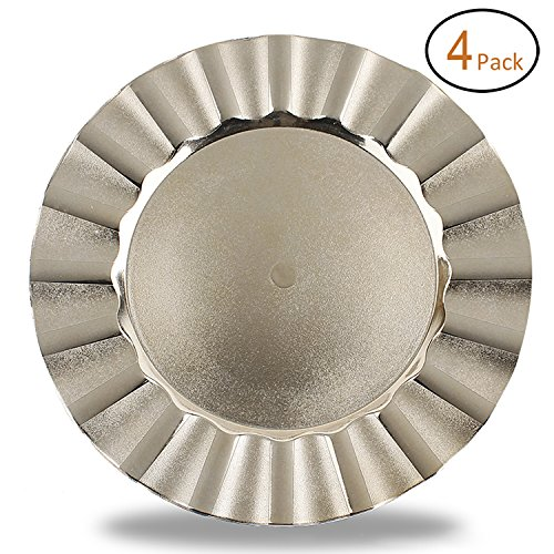 Fantastic:)TM Round 13 Inch Plastic Charger Plates with Eletroplating Finish (4, Wave Edge Gold)