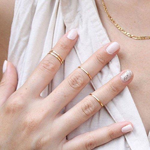 5Pcs Anillo de uñas del dedo Personalidad brillante con Diseño moda y sencillo para mujeres niñas-Plata