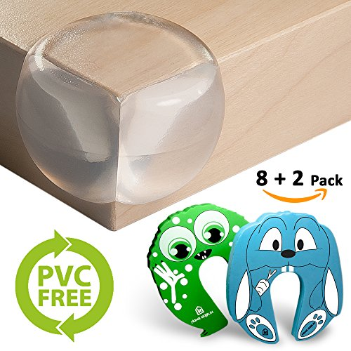 Corner Guards PVC Free- Extra Large for Safety | X5 More Adhesive Power Pre-Applied | 200% Softer Material | 8+2 Pack | Baby Proofing | Aesthetically Clear + Child Door Finger Pinch Protectors