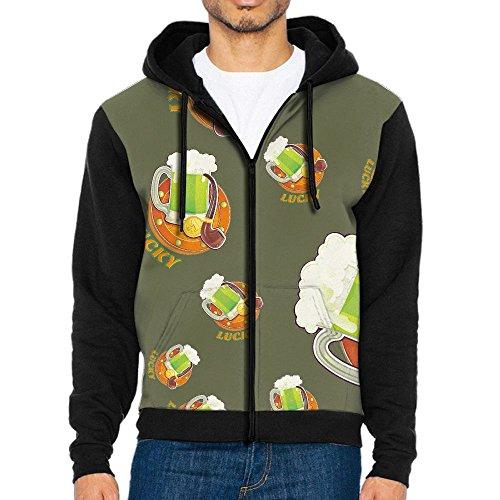 Dw5 Hoodie Saint Patrick's Day Lucky Cartoon Men's Print Full Zip With Pocket Pullover Sweatshirt (Lucky Full Zip Sweatshirt)