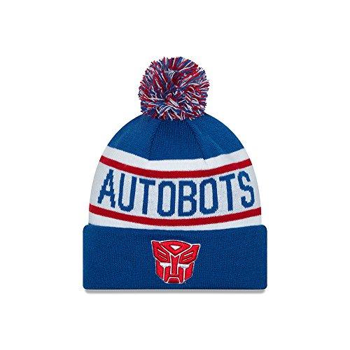 New Era Cap Men's Autobots Biggest Fan Redux Pom Knit Beanie, Blue/Red, One - Biggest Hat Size