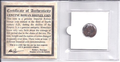 (ANCIENT ROMAN BRONZE COIN ,1500 years old With COA)